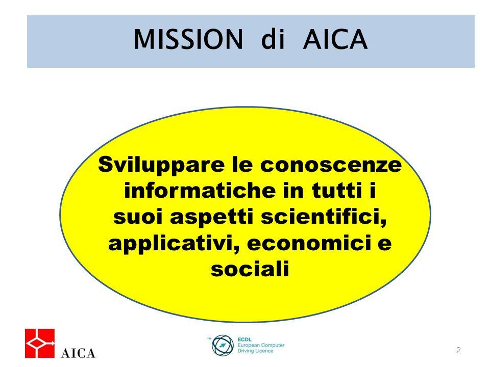 MISSION di AICA 2 Sviluppare le conoscenze informatiche in tutti i suoi aspetti scientifici, applicativi, economici e sociali