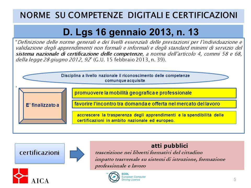 NORME SU COMPETENZE DIGITALI E CERTIFICAZIONI 5 D.