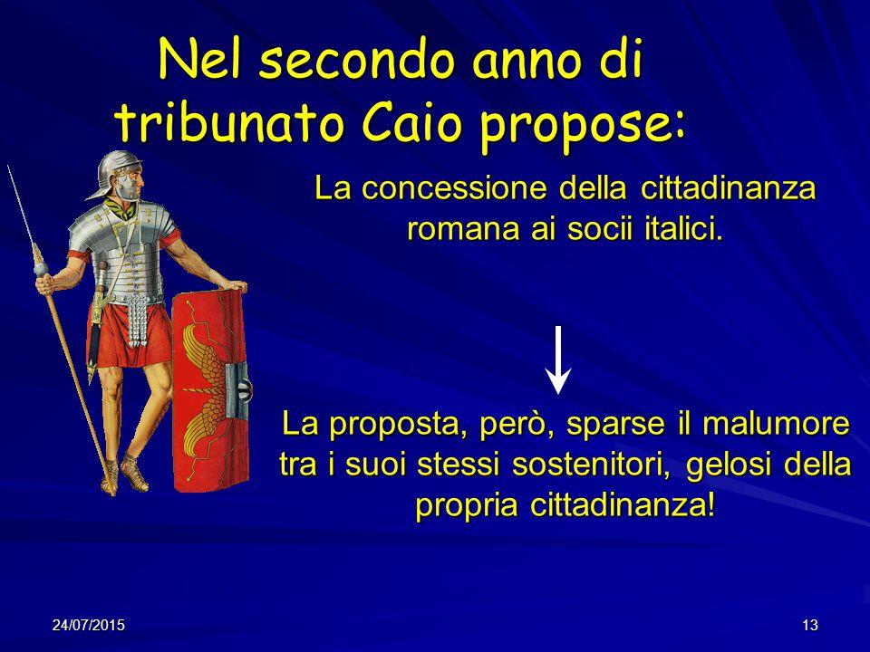 Nel secondo anno di tribunato Caio propose: La concessione della cittadinanza romana ai socii italici. La proposta, però, sparse il malumore tra i suo