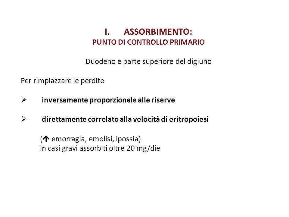 I.ASSORBIMENTO: PUNTO DI CONTROLLO PRIMARIO Duodeno e parte superiore del digiuno Per rimpiazzare le perdite  inversamente proporzionale alle riserve