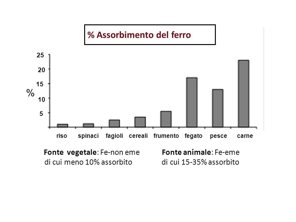 riso spinaci fagioli cereali frumento fegato pesce carne % Assorbimento del ferro % 5 25 20 10 15 Fonte vegetale: Fe-non eme Fonte animale: Fe-eme di