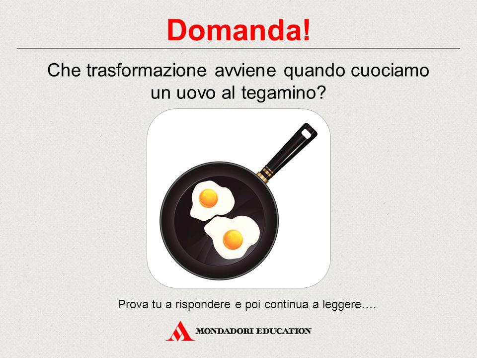 Domanda! Che trasformazione avviene quando cuociamo un uovo al tegamino? Prova tu a rispondere e poi continua a leggere….