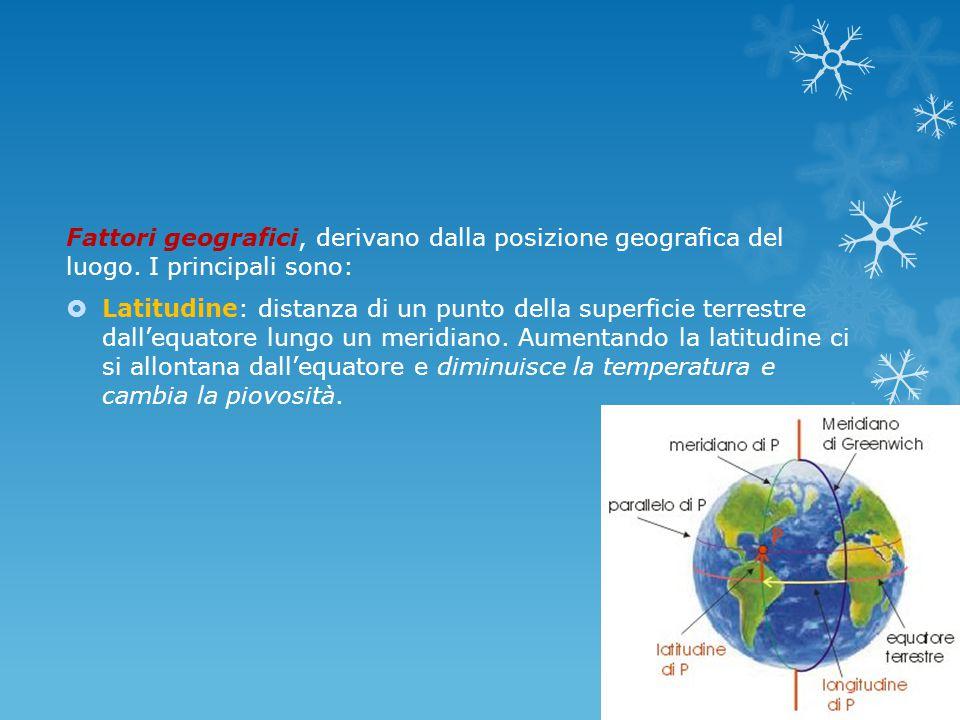 Fattori geografici, derivano dalla posizione geografica del luogo.
