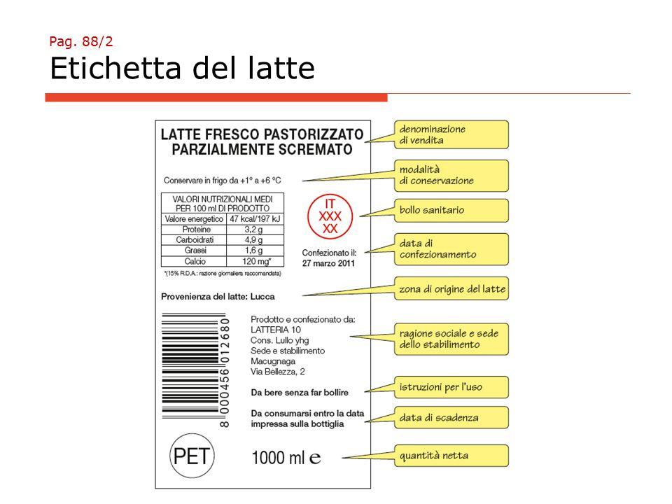 Pag. 88/2 Etichetta del latte