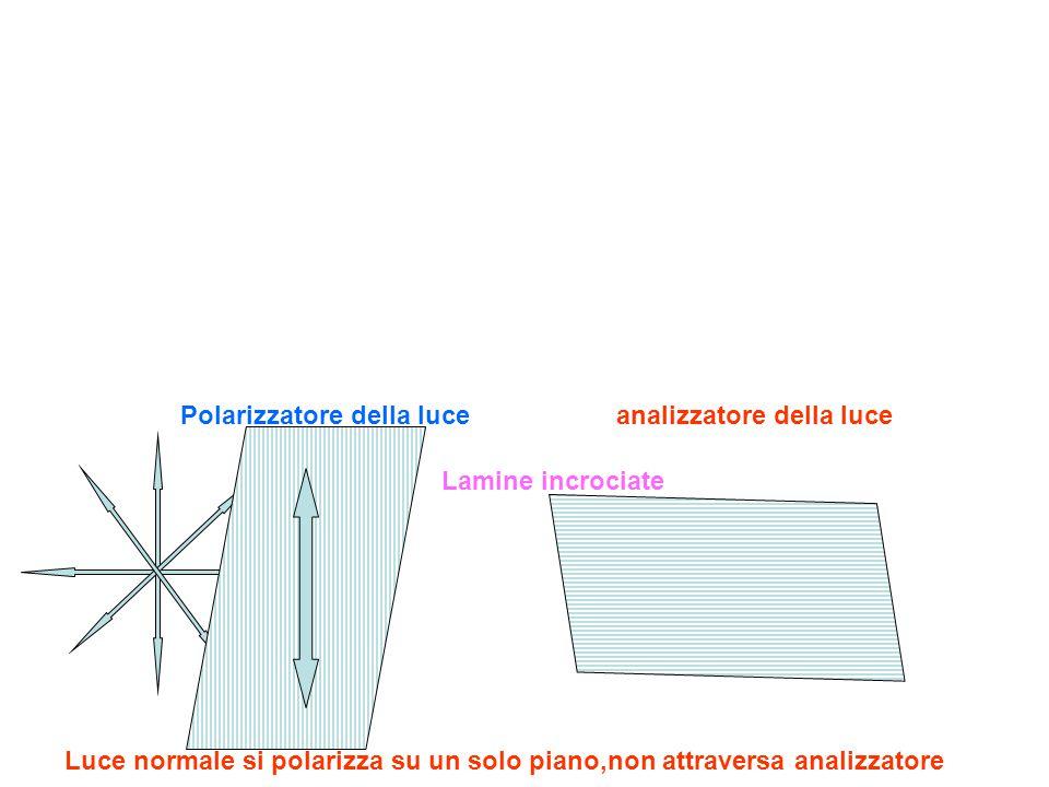 Luce normale si polarizza su un solo piano,non attraversa analizzatore Polarizzatore della luce analizzatore della luce Lamine incrociate