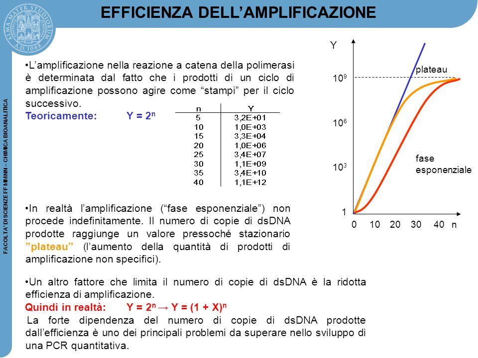 FACOLTA' DI SCIENZE FF MM NN – CHIMICA BIOANALITICA 0 10 20 30 40 n plateau fase esponenziale 10 9 10 6 10 3 1 Y L'amplificazione nella reazione a cat