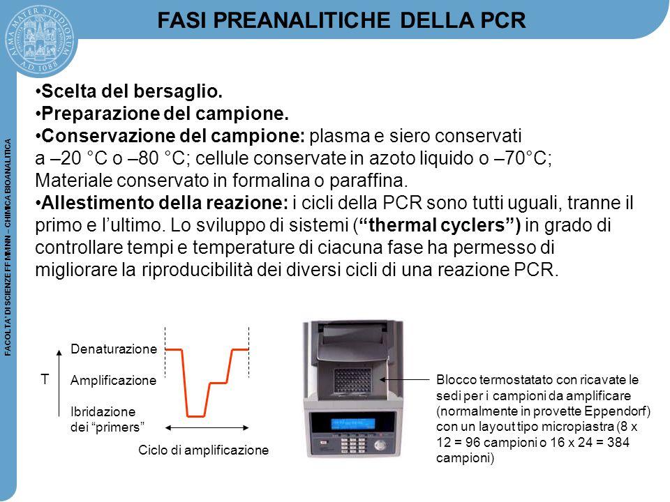 FACOLTA' DI SCIENZE FF MM NN – CHIMICA BIOANALITICA FASI PREANALITICHE DELLA PCR Scelta del bersaglio. Preparazione del campione. Conservazione del ca