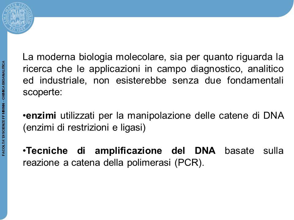 FACOLTA' DI SCIENZE FF MM NN – CHIMICA BIOANALITICA Rompendo il DNA in corrispondenza del sito di restrizione, gli enzimi di restrizione possono determinare la formazione di frammenti di dsDNA con estremità piatte (A) o coesive (B): (A) (B) ENZIMI DI RESTRIZIONE