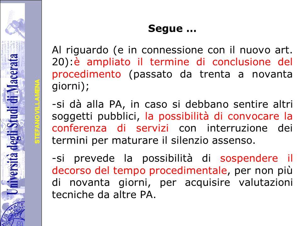 Università degli Studi di Perugia STEFANO VILLAMENA Segue … Al riguardo (e in connessione con il nuovo art.