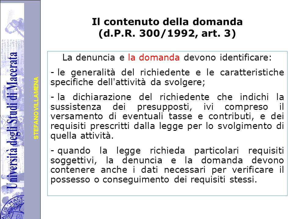 Università degli Studi di Perugia STEFANO VILLAMENA Il contenuto della domanda (d.P.R.