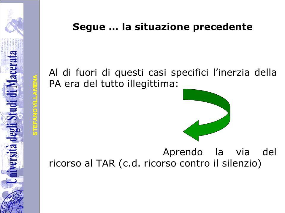 Università degli Studi di Perugia STEFANO VILLAMENA Segue … la situazione precedente Al di fuori di questi casi specifici l'inerzia della PA era del tutto illegittima: Aprendo la via del ricorso al TAR (c.d.