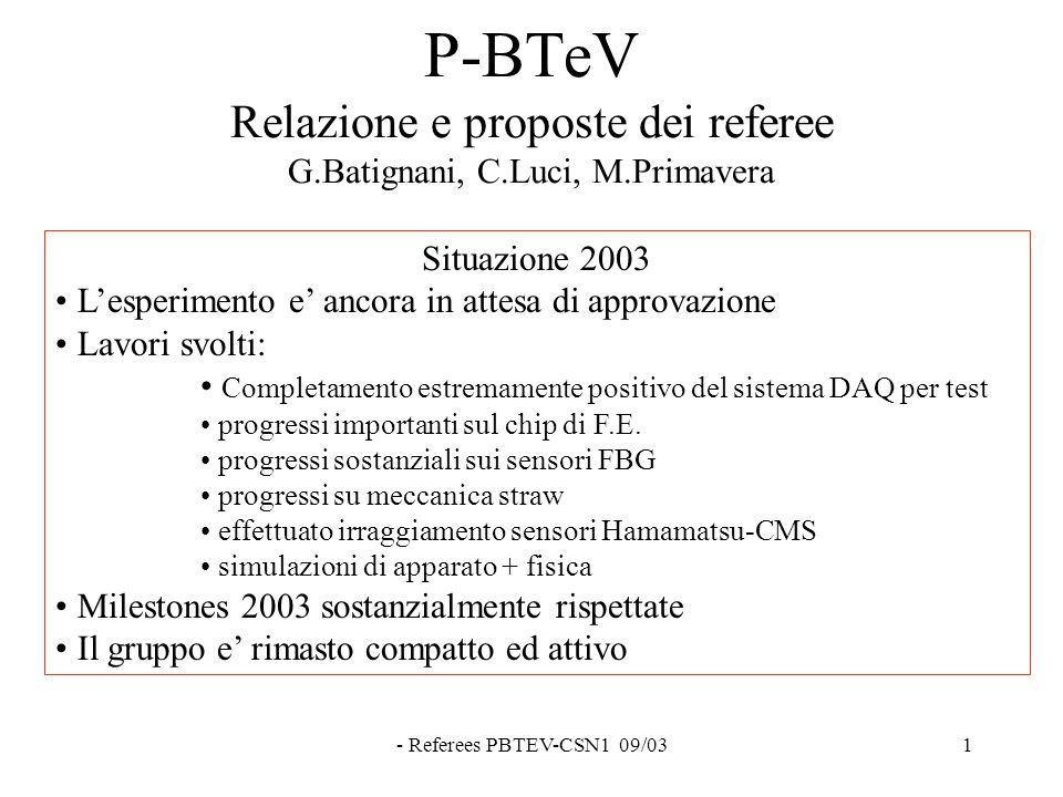 - Referees PBTEV-CSN1 09/031 P-BTeV Relazione e proposte dei referee G.Batignani, C.Luci, M.Primavera Situazione 2003 L'esperimento e' ancora in attesa di approvazione Lavori svolti: Completamento estremamente positivo del sistema DAQ per test progressi importanti sul chip di F.E.