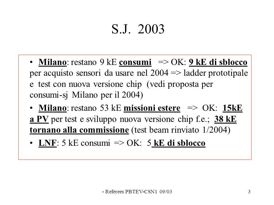 - Referees PBTEV-CSN1 09/033 S.J. 2003 Milano: restano 9 kE consumi => OK: 9 kE di sblocco per acquisto sensori da usare nel 2004 => ladder prototipal