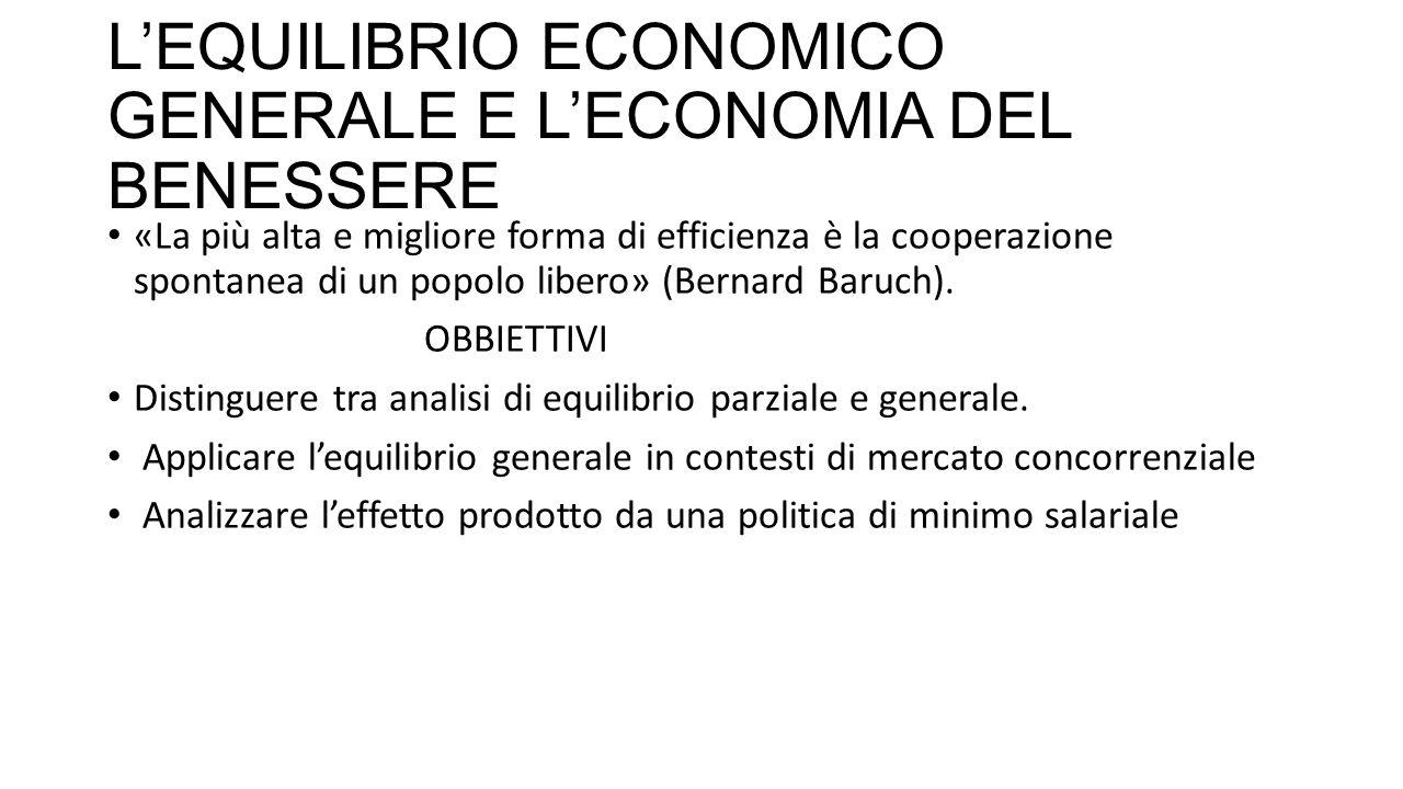 L'EQUILIBRIO ECONOMICO GENERALE E L'ECONOMIA DEL BENESSERE «La più alta e migliore forma di efficienza è la cooperazione spontanea di un popolo libero» (Bernard Baruch).