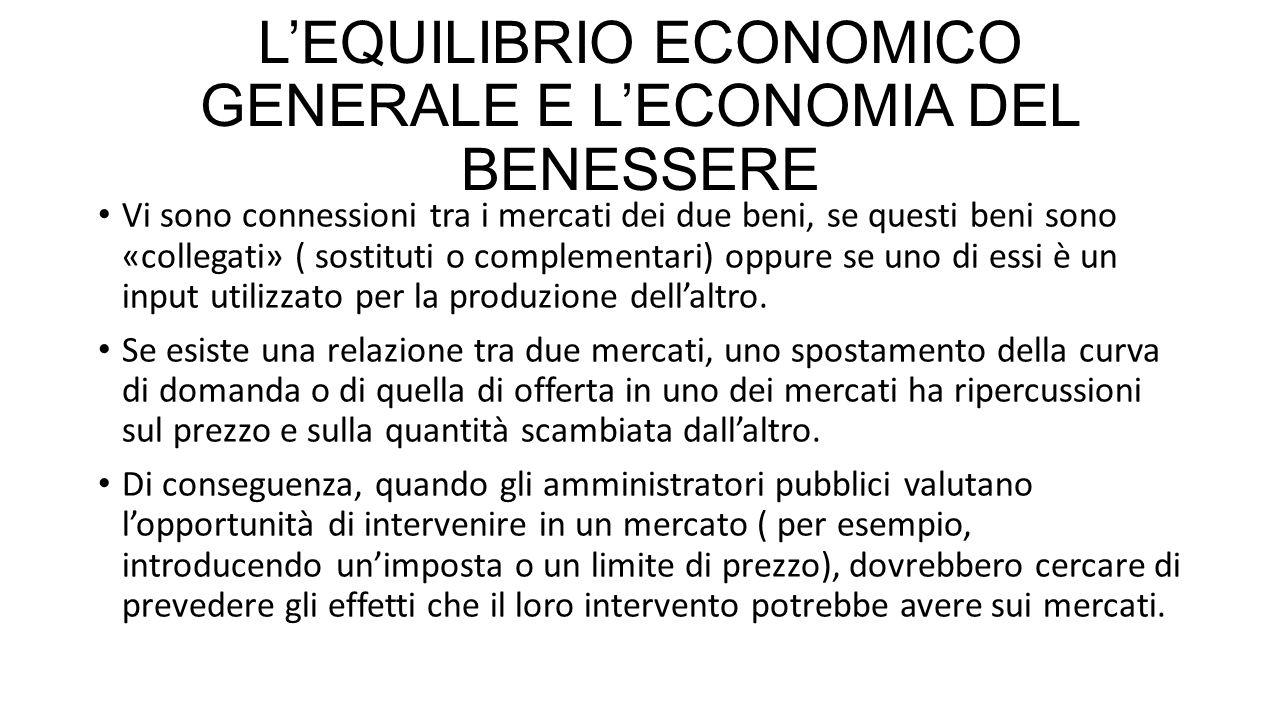 L'EQUILIBRIO ECONOMICO GENERALE E L'ECONOMIA DEL BENESSERE Vi sono connessioni tra i mercati dei due beni, se questi beni sono «collegati» ( sostituti o complementari) oppure se uno di essi è un input utilizzato per la produzione dell'altro.