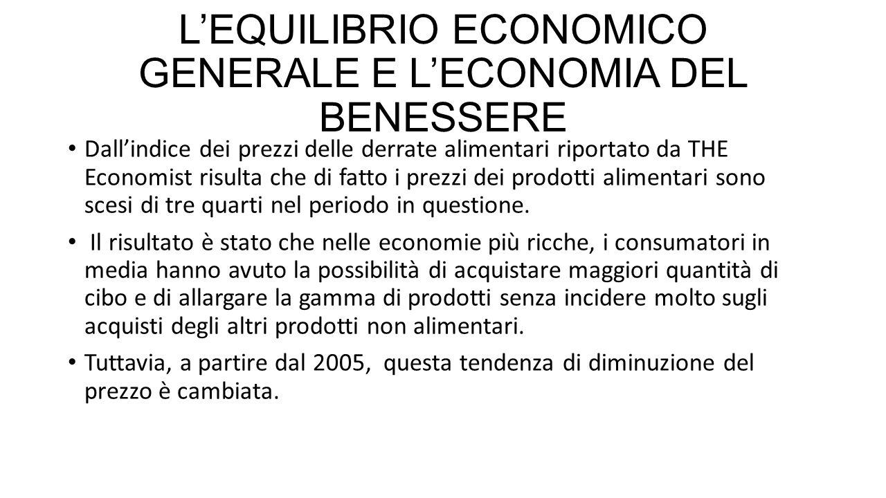 L'EQUILIBRIO ECONOMICO GENERALE E L'ECONOMIA DEL BENESSERE Dall'indice dei prezzi delle derrate alimentari riportato da THE Economist risulta che di fatto i prezzi dei prodotti alimentari sono scesi di tre quarti nel periodo in questione.
