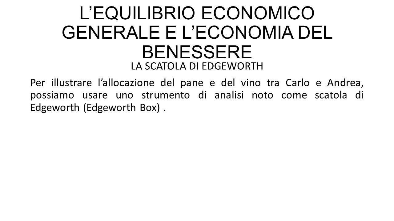 L'EQUILIBRIO ECONOMICO GENERALE E L'ECONOMIA DEL BENESSERE LA SCATOLA DI EDGEWORTH Per illustrare l'allocazione del pane e del vino tra Carlo e Andrea, possiamo usare uno strumento di analisi noto come scatola di Edgeworth (Edgeworth Box).