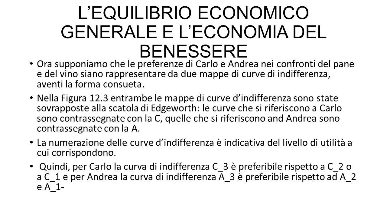 L'EQUILIBRIO ECONOMICO GENERALE E L'ECONOMIA DEL BENESSERE Ora supponiamo che le preferenze di Carlo e Andrea nei confronti del pane e del vino siano rappresentare da due mappe di curve di indifferenza, aventi la forma consueta.