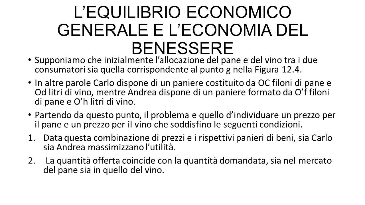 L'EQUILIBRIO ECONOMICO GENERALE E L'ECONOMIA DEL BENESSERE Supponiamo che inizialmente l'allocazione del pane e del vino tra i due consumatori sia quella corrispondente al punto g nella Figura 12.4.