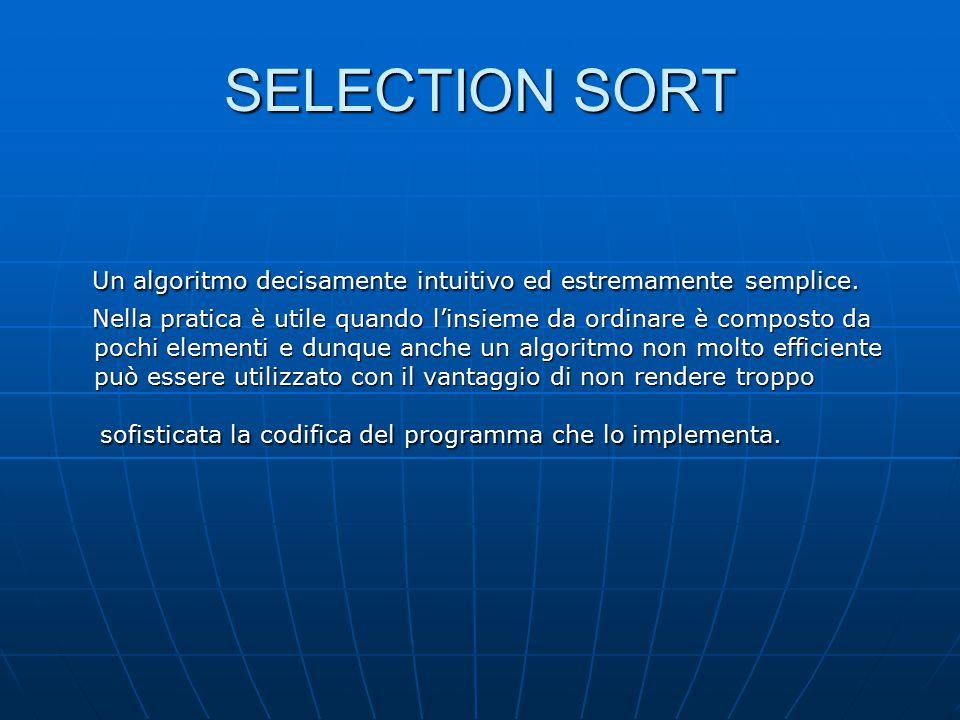 SELECTION SORT Alla prima iterazione dell'algoritmo verrà selezionato l'elemento più Alla prima iterazione dell'algoritmo verrà selezionato l'elemento più piccolo dell'intero insieme e sarà scambiato con quello che occupa la piccolo dell'intero insieme e sarà scambiato con quello che occupa la prima posizione; prima posizione; alla seconda iterazione è selezionato il secondo elemento più piccolo alla seconda iterazione è selezionato il secondo elemento più piccolo dell'insieme ed è scambiato con l'elemento che occupa la seconda dell'insieme ed è scambiato con l'elemento che occupa la seconda posizione.