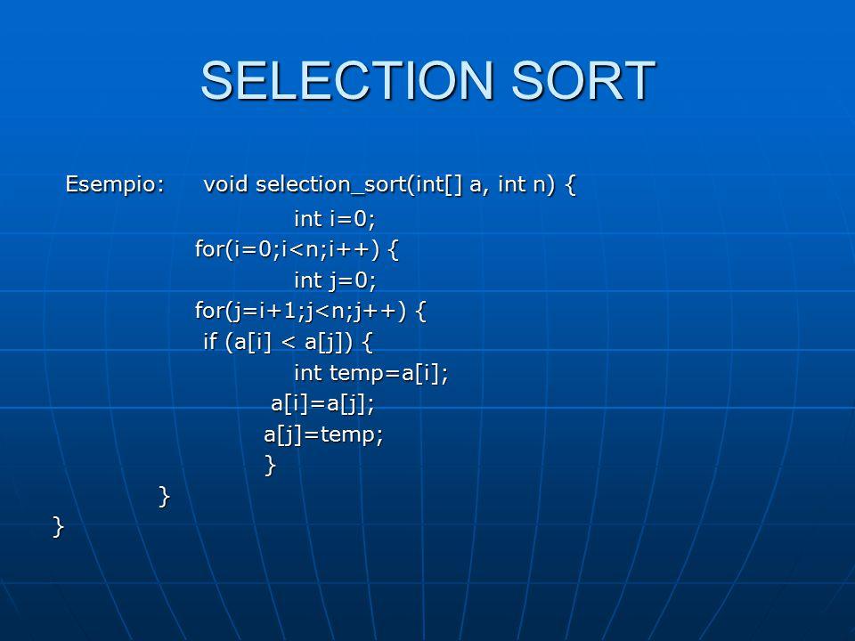 HEAP SORT Esempio: #include Esempio: #include #define MAX 20 #define MAX 20 int ArraySize, HeapSize, tot; int ArraySize, HeapSize, tot; int left(int i) { return 2*i+1;} int left(int i) { return 2*i+1;} int right(int i) { return 2*i+2;} int right(int i) { return 2*i+2;} int p(int i) {return (i-1)/2;} int p(int i) {return (i-1)/2;} void swap(int A[MAX], int i, int j) void swap(int A[MAX], int i, int j) {int tmp = A[i]; {int tmp = A[i]; A[i] = A[j]; A[i] = A[j]; A[j] =tmp;} A[j] =tmp;} void Heapify(int A[MAX], int i); void Heapify(int A[MAX], int i); void BuildHeap(int A[MAX]); void BuildHeap(int A[MAX]); void HeapSort(int A[MAX]); void HeapSort(int A[MAX]);
