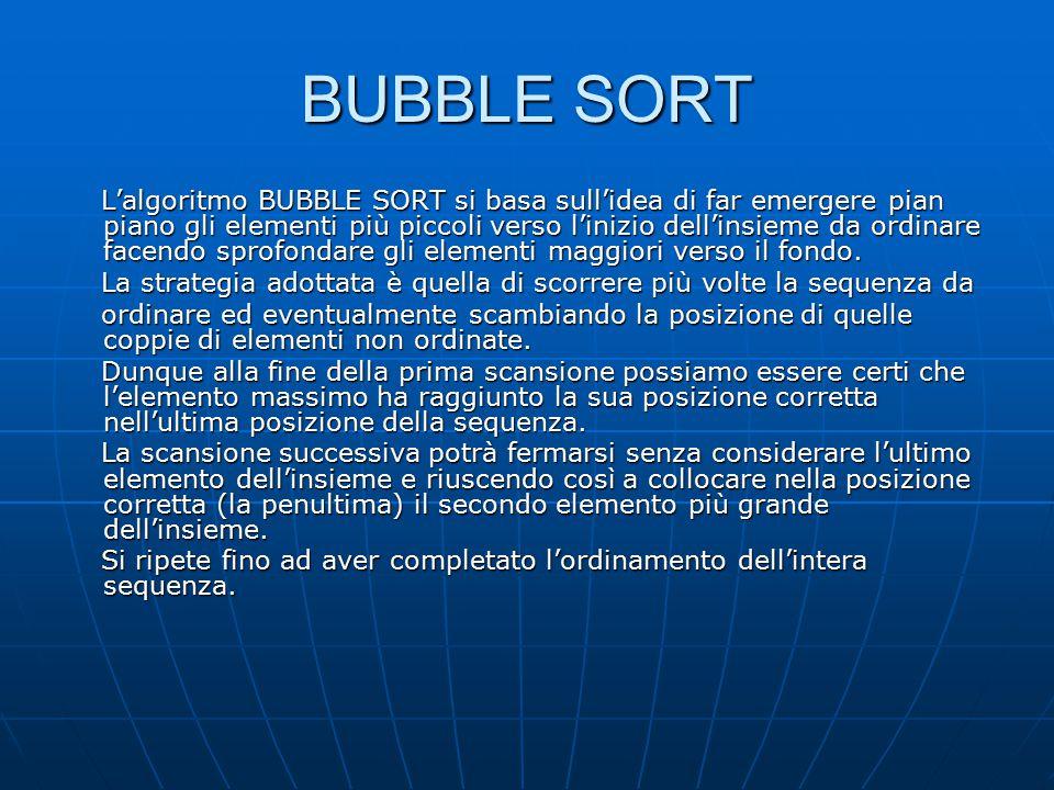 BUBBLE SORT Esempio: Esempio: void bubble_sort(int[] a, int n) { void bubble_sort(int[] a, int n) { bool scambio=true; bool scambio=true; int ultimo=n-1,i=0; int ultimo=n-1,i=0; while (scambio) { while (scambio) { scambio=false; scambio=false; for(i=0;i<ultimo;i++) { for(i=0;i<ultimo;i++) { if (a[i]>a[i+1]) { if (a[i]>a[i+1]) { int temp=a[i]; int temp=a[i]; a[i]=a[i+1]; a[i]=a[i+1]; a[i+1]=temp; a[i+1]=temp; scambio=true; scambio=true; } } ultimo--; ultimo--; } }