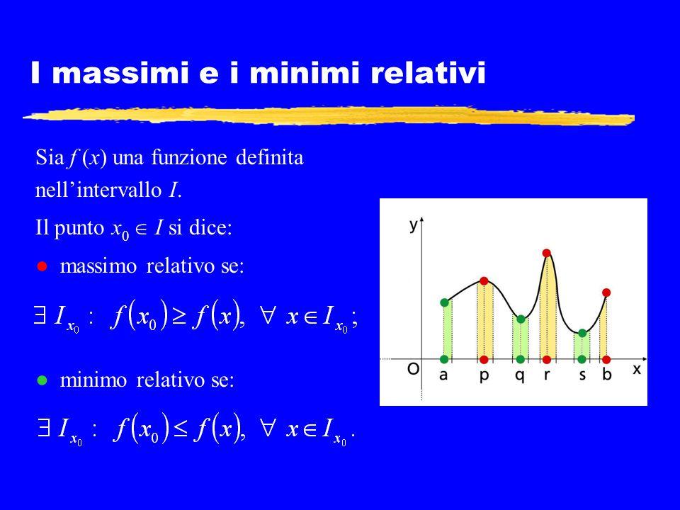 I massimi e i minimi relativi Sia f (x) una funzione definita nell'intervallo I. Il punto x 0  I si dice: ● massimo relativo se: ● minimo relativo se