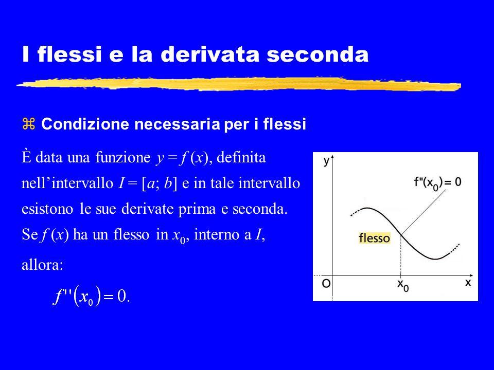 I flessi e la derivata seconda z Condizione necessaria per i flessi È data una funzione y = f (x), definita nell'intervallo I = [a; b] e in tale inter