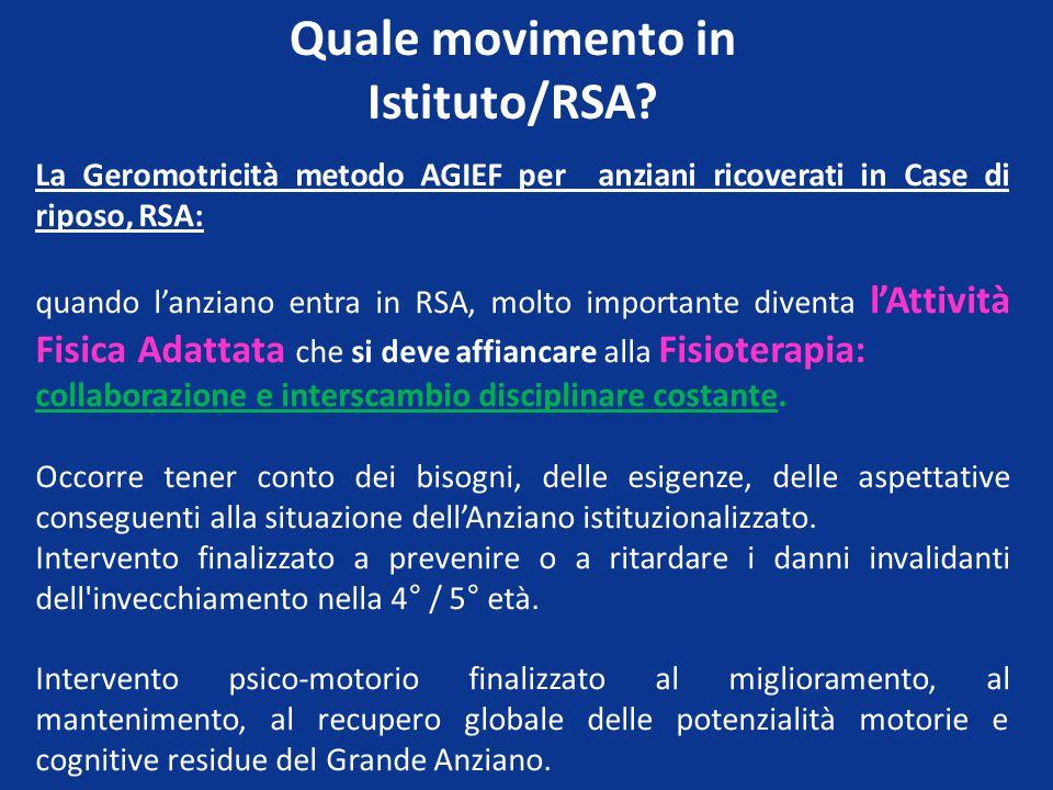 Quale movimento in Istituto/RSA.
