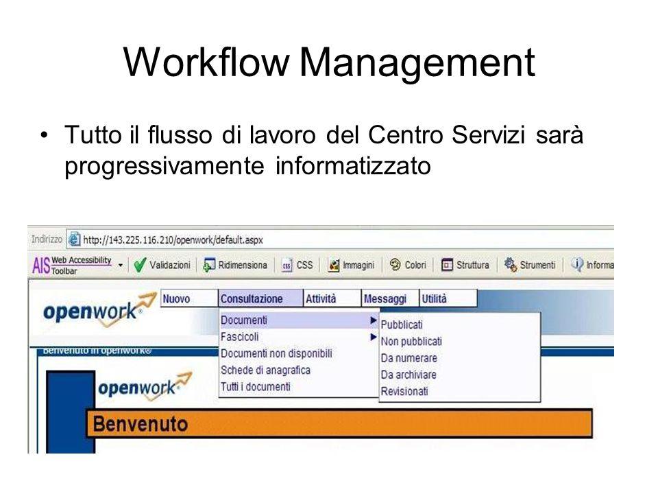 Workflow Management Tutto il flusso di lavoro del Centro Servizi sarà progressivamente informatizzato