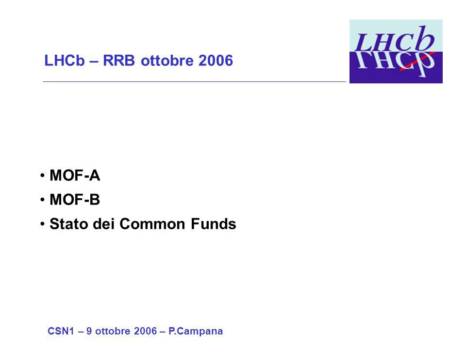 LHCb – RRB ottobre 2006 MOF-A MOF-B Stato dei Common Funds CSN1 – 9 ottobre 2006 – P.Campana