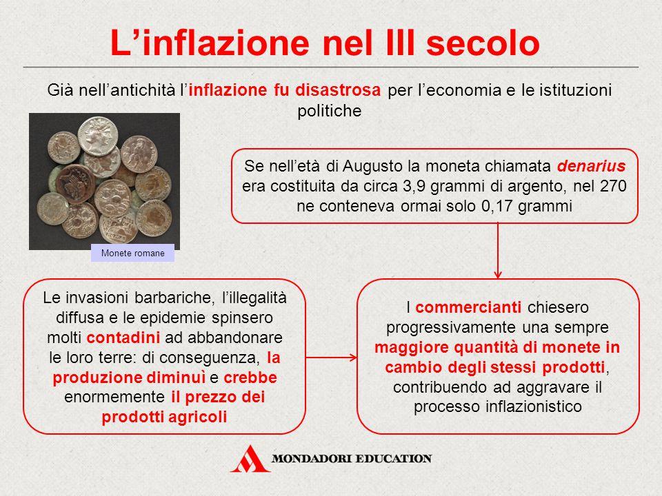 L'inflazione nel III secolo Già nell'antichità l'inflazione fu disastrosa per l'economia e le istituzioni politiche Se nell'età di Augusto la moneta c
