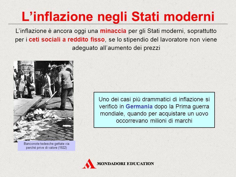 L'inflazione negli Stati moderni Uno dei casi più drammatici di inflazione si verificò in Germania dopo la Prima guerra mondiale, quando per acquistar