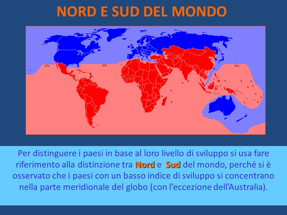 NORD E SUD DEL MONDO NordSud Per distinguere i paesi in base al loro livello di sviluppo si usa fare riferimento alla distinzione tra Nord e Sud del m