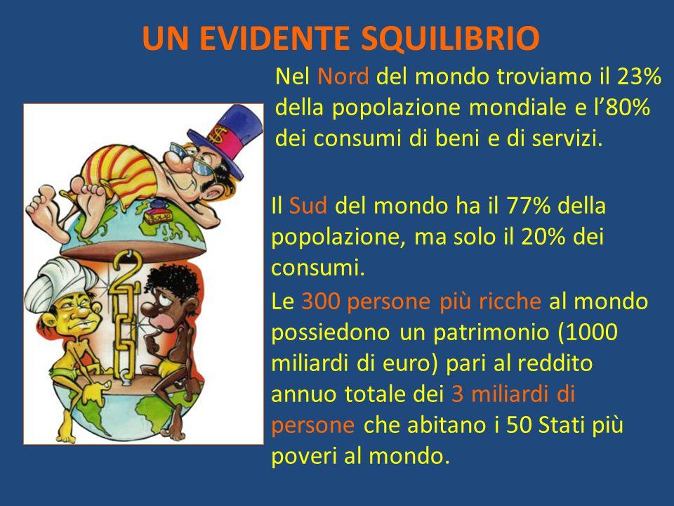 UN EVIDENTE SQUILIBRIO Nel Nord del mondo troviamo il 23% della popolazione mondiale e l'80% dei consumi di beni e di servizi. Il Sud del mondo ha il