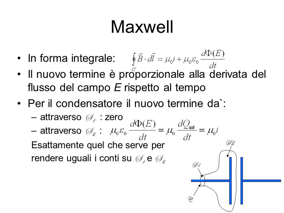Maxwell In forma integrale: Il nuovo termine è proporzionale alla derivata del flusso del campo E rispetto al tempo Per il condensatore il nuovo termine da`: –attraverso S 1 : zero –attraverso S 2 : Esattamente quel che serve per rendere uguali i conti su S 1 e S 2 C S1 S2