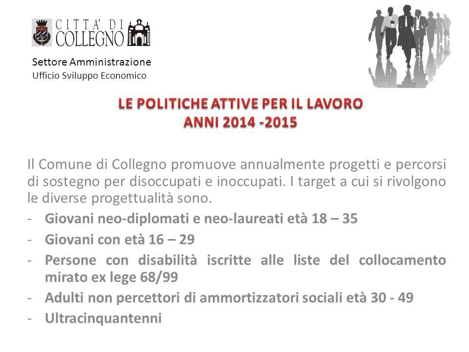 Il Comune di Collegno promuove annualmente progetti e percorsi di sostegno per disoccupati e inoccupati.
