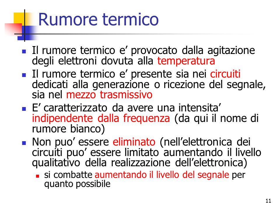 11 Rumore termico Il rumore termico e' provocato dalla agitazione degli elettroni dovuta alla temperatura Il rumore termico e' presente sia nei circui
