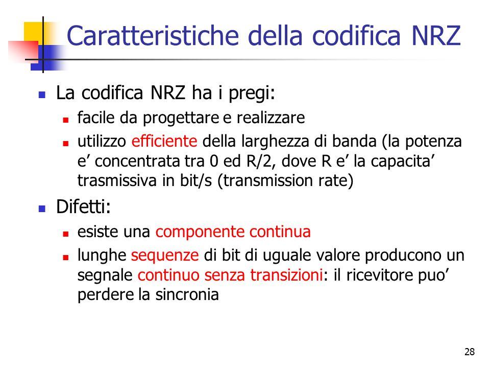 28 Caratteristiche della codifica NRZ La codifica NRZ ha i pregi: facile da progettare e realizzare utilizzo efficiente della larghezza di banda (la p