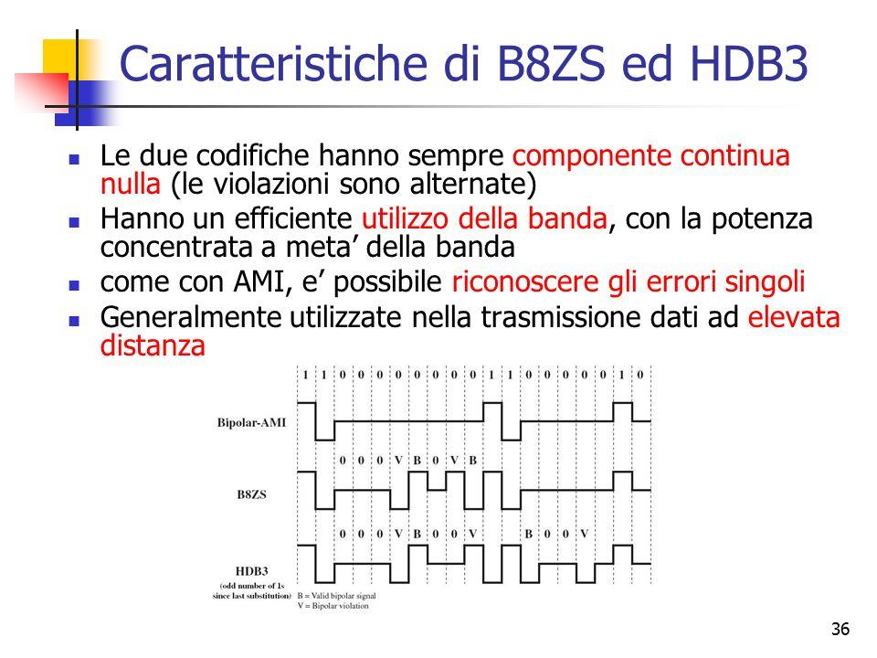 36 Caratteristiche di B8ZS ed HDB3 Le due codifiche hanno sempre componente continua nulla (le violazioni sono alternate) Hanno un efficiente utilizzo