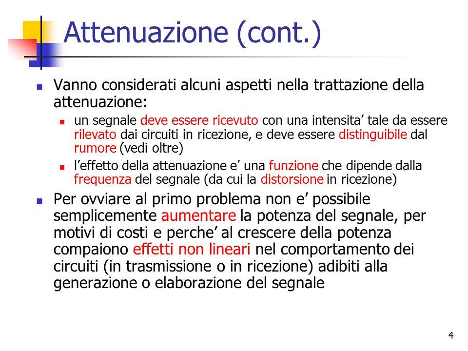 4 Attenuazione (cont.) Vanno considerati alcuni aspetti nella trattazione della attenuazione: un segnale deve essere ricevuto con una intensita' tale