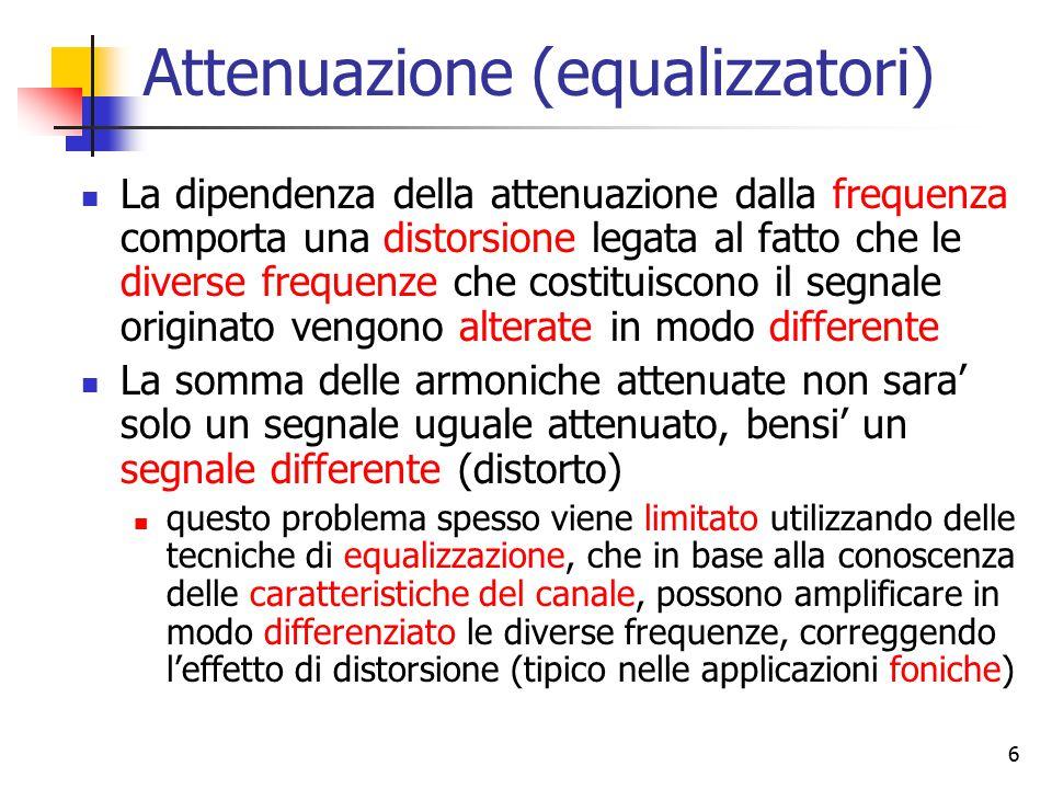 6 Attenuazione (equalizzatori) La dipendenza della attenuazione dalla frequenza comporta una distorsione legata al fatto che le diverse frequenze che