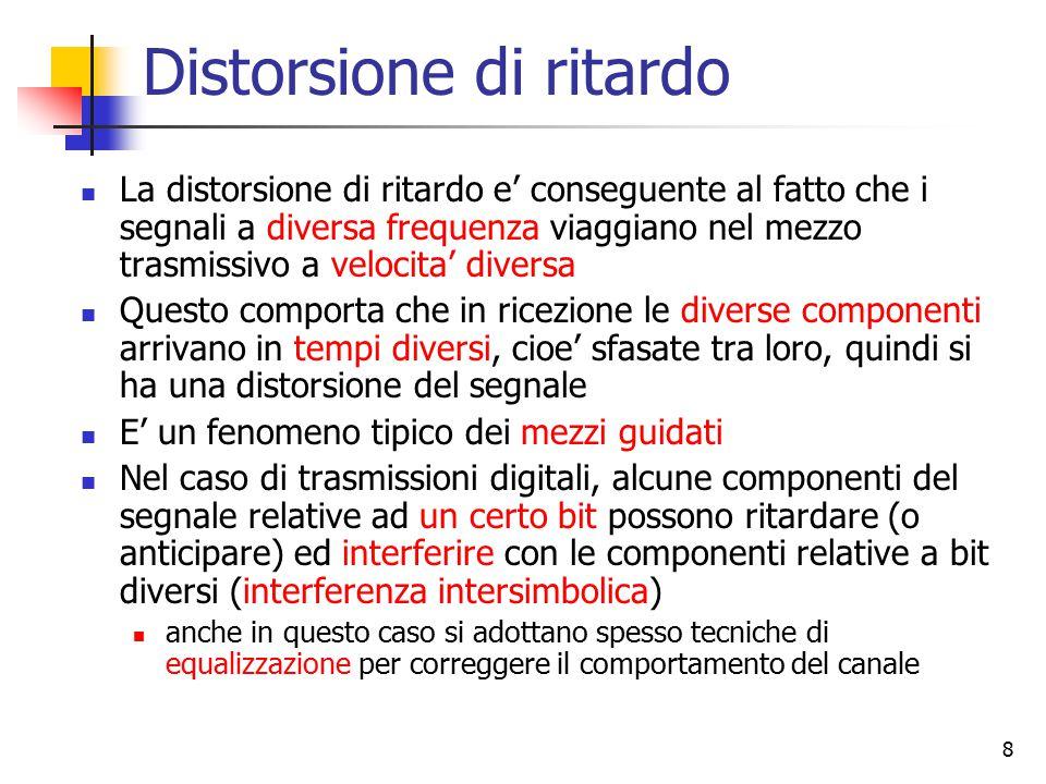 8 Distorsione di ritardo La distorsione di ritardo e' conseguente al fatto che i segnali a diversa frequenza viaggiano nel mezzo trasmissivo a velocit