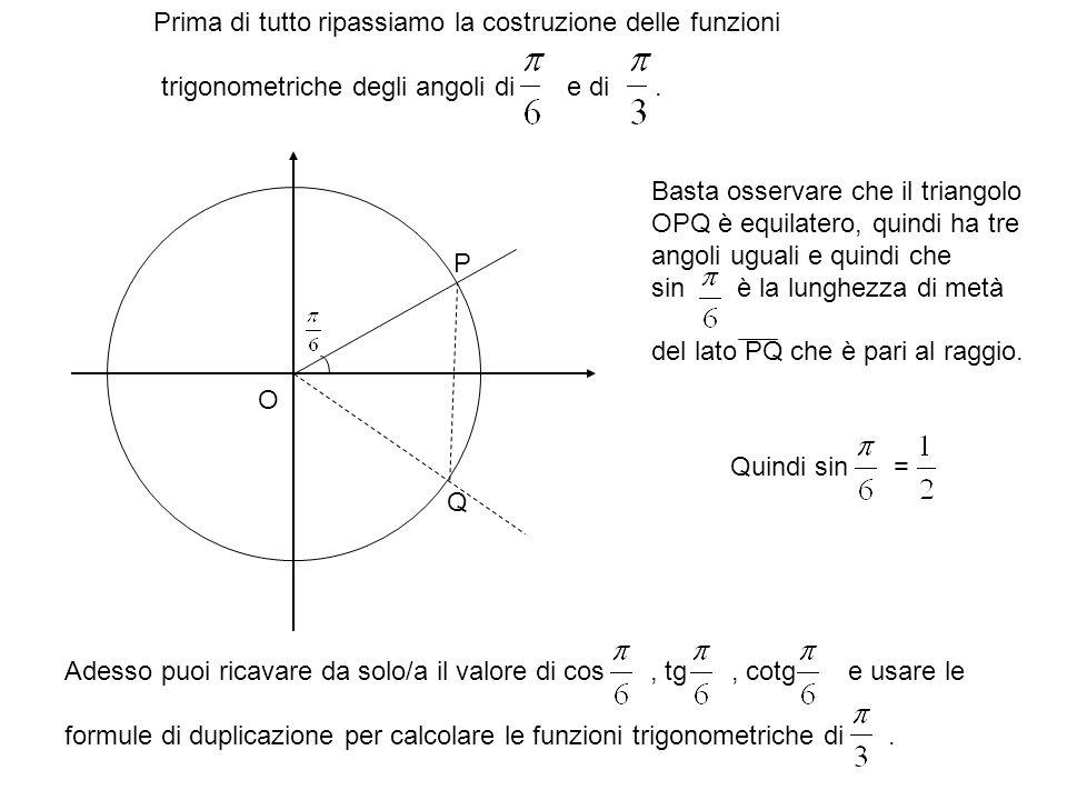 Prima di tutto ripassiamo la costruzione delle funzioni trigonometriche degli angoli di e di.