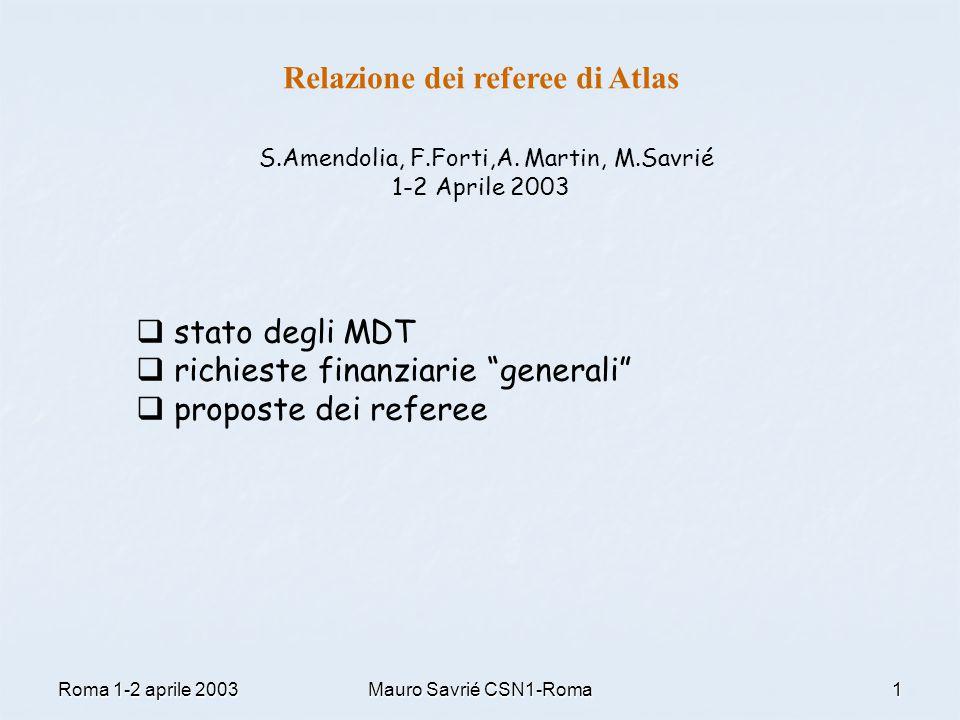 Roma 1-2 aprile 2003Mauro Savrié CSN1-Roma1 Relazione dei referee di Atlas S.Amendolia, F.Forti,A. Martin, M.Savrié 1-2 Aprile 2003  stato degli MDT