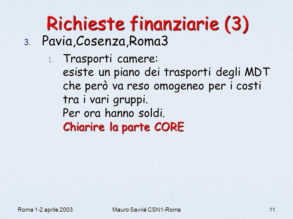 Roma 1-2 aprile 2003Mauro Savrié CSN1-Roma11 Richieste finanziarie (3) 3. Pavia,Cosenza,Roma3 1. Trasporti camere: esiste un piano dei trasporti degli