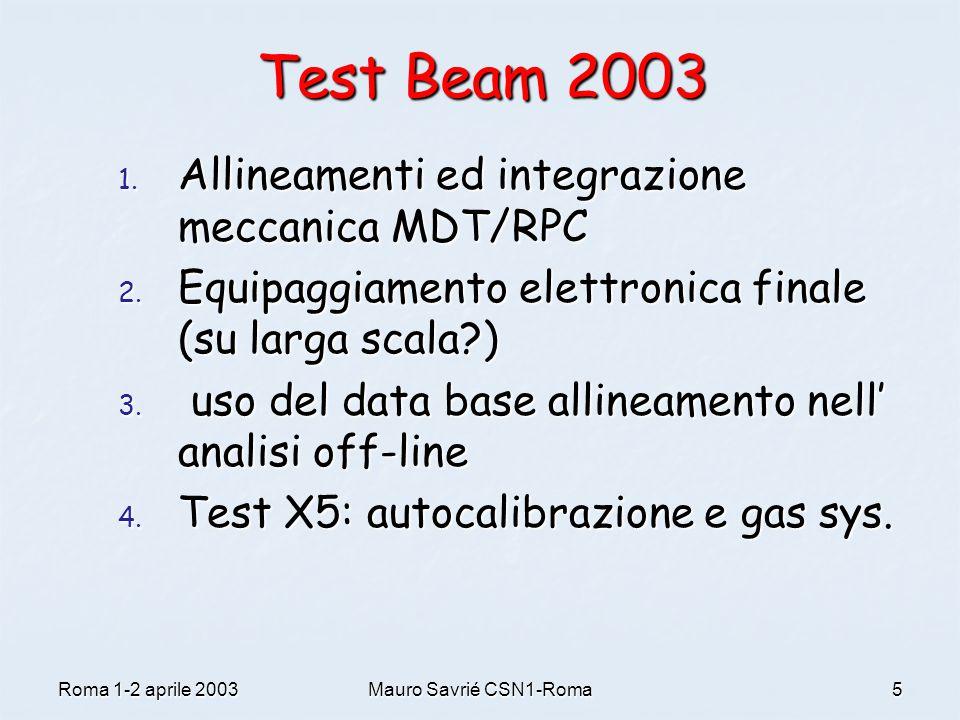Roma 1-2 aprile 2003Mauro Savrié CSN1-Roma5 Test Beam 2003 1. Allineamenti ed integrazione meccanica MDT/RPC 2. Equipaggiamento elettronica finale (su