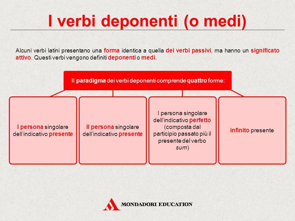 I verbi deponenti (o medi) I verbi semideponenti Verifica sommativa Lessico
