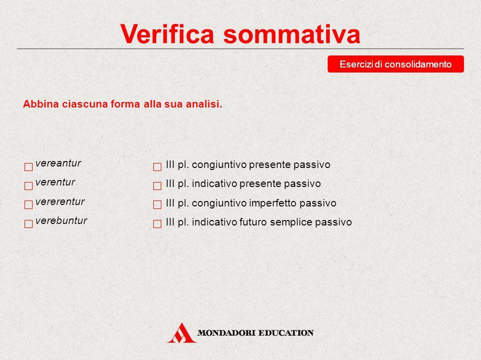 Verifica sommativa Esercizi di consolidamento Indica la seconda persona plurale del congiuntivo perfetto del verbo audeo, audes, ausus sum, audēre.