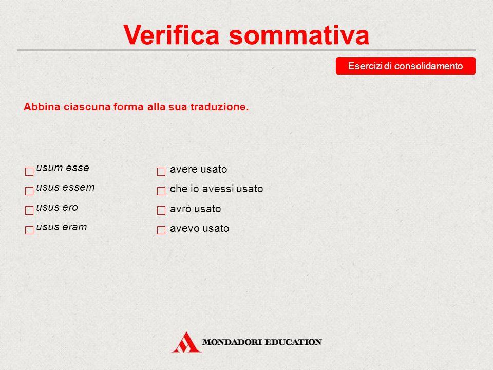 Verifica sommativa Esercizi di consolidamento Abbina ciascuna forma alla sua analisi.